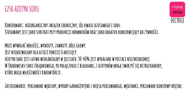 azotyn sodu E250