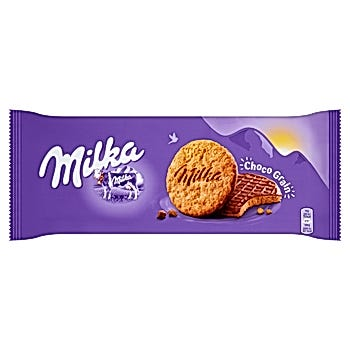Milka Choco Grain Ciastka z płatkami owsianymi oblane czekoladą mleczną z mleka alpejskiego