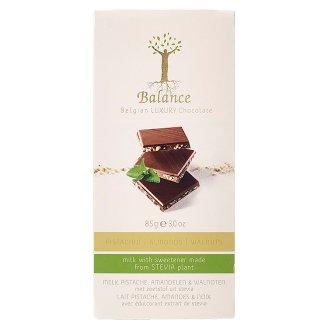 Balance Belgijska luksusowa czekolada mleczna z pistacjami migdałami i orzechami ze stewią