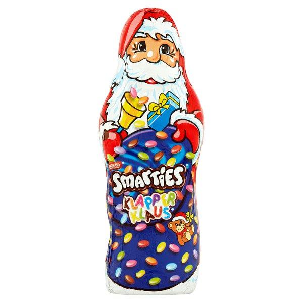 Smarties Mikołaj Figura z czekolady wypełniona czekoladą w chrupiących cukrowych skorupkach