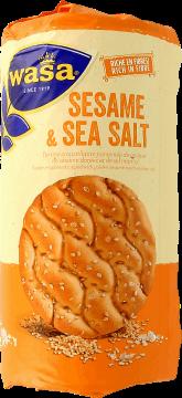 Wasa, Sesame & Sea Salt, okrągłe, pszenne pieczywo chrupkie z sezamem i solą morską