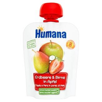 Humana 100% Organic Mus jabłko-gruszka-truskawka po 8 miesiącu