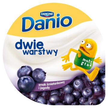 DANONE Danio Dwie warstwy Serek homogenizowany o smaku śmietankowym z jagodami