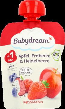 babydream, Minis, puree owocowe jabłko-truskawka-jagoda, po 1. roku