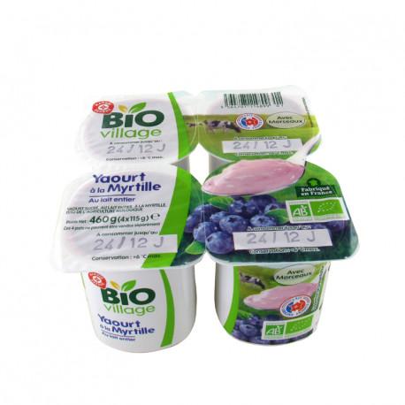 Ekologiczny jogurt z pełnego mleka, słodzony, z czarną jagodą. Produkt rolnictwa ekologicznego