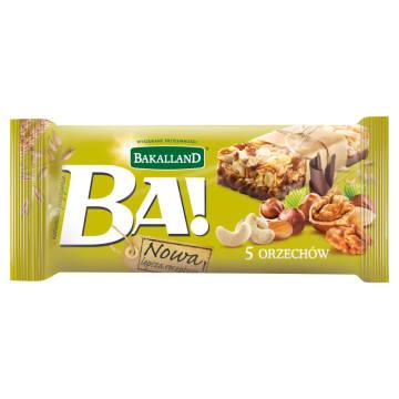 BAKALLAND BA! Baton zbożowy 5 orzechów z polewą kakaowo-mleczną