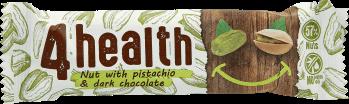 4 health, baton musli z orzechami i pistacjami na czekoladzie deserowej