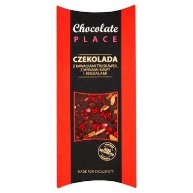 Chocolate Place Czekolada z kawałkami truskawek ziarnami kawy i migdałami
