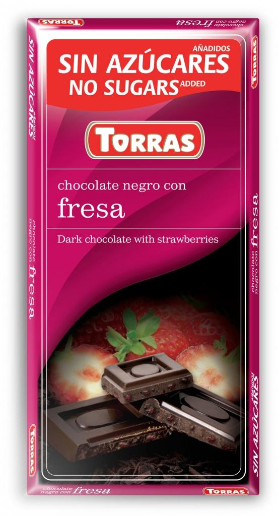 Torras, Czekolada gorzka bez cukru z truskawkami