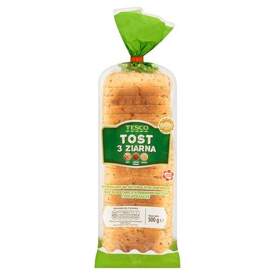 Tesco Tost 3 ziarna Chleb tostowy pszenny