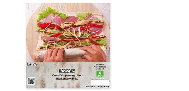 Lawasz, Ormiański chleb pszenny (Biedronka) skład: mąka pszenna, woda, sól.