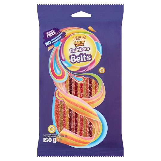Tesco Candy Carnival Rainbow Belts Żelki o smaku owocowym