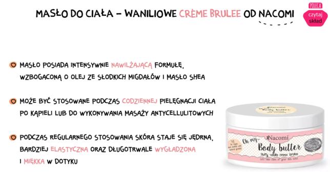 Masło do ciała - Waniliowe crème brulee od Nacomi
