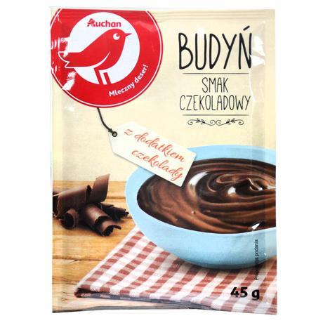 Auchan - Budyń o smaku czekoladowym z dodatkiem czekolady