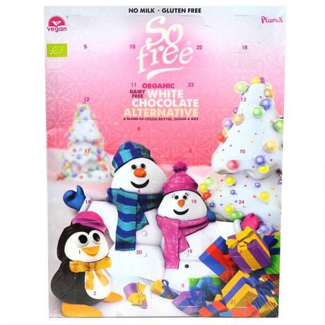 So Free - Kalendarz Adwentowy z bałwankiem biała czekolada dla dzieci