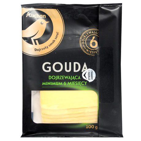 Auchan - ser Gouda w plastrach dojrzewający minimum 6 miesięcy