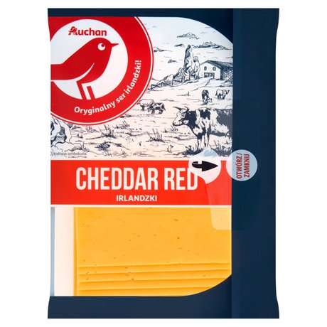 Auchan - Ser cheddar czerwony, twardy, podpuszczkowy, dojrzewający w plastrach