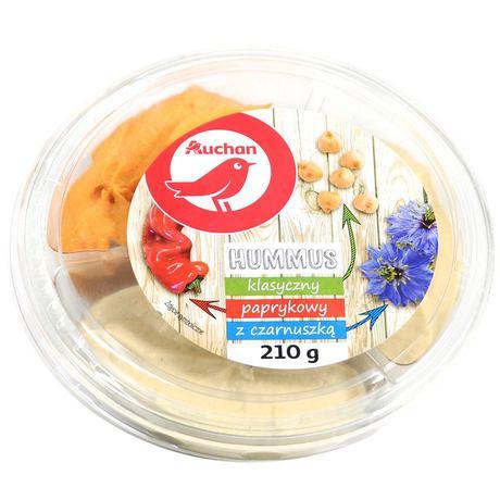Auchan - Hummus pasta z ciecierzycy i sezamu klasyczna paprykowa i z czarnuszką