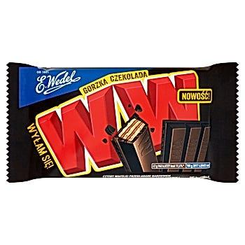 E. Wedel WW Cztery wafelki przekładane nadzieniem orzechowym arachidowym w czekoladzie gorzkiej