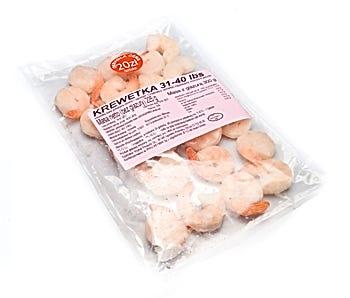 Krewetki białe gotowane, obrane z ogonkiem