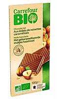 Carrefour Bio Ekologiczna czekolada mleczna z kawałkami karmelizowanych orzechów laskowych
