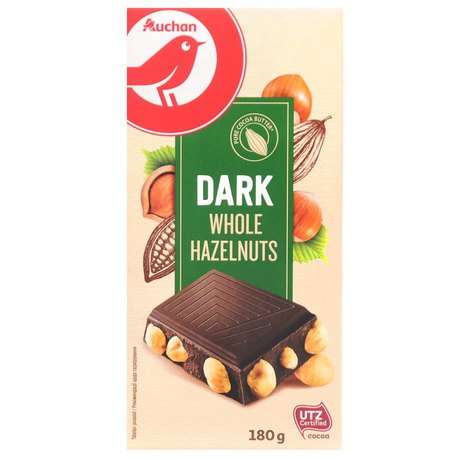 Auchan - czekolada gorzka z całymi prażonymi orzechami laskowy