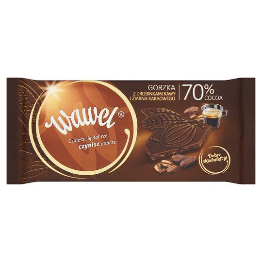 Wawel Czekolada gorzka 70% Cocoa z drobinkami kawy i ziarna kakaowego