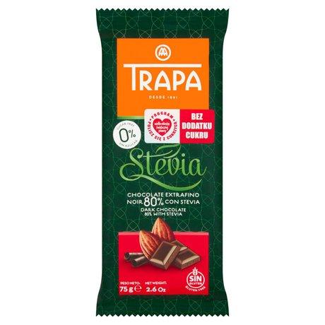 Trapa - Czekolada gorzka 80% kakao ze stewią bez dodatku cukru