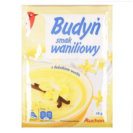 Auchan - Budyń o smaku waniliowym z dodatkiem wanilii bez cukru