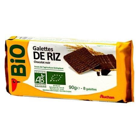 Auchan - BIO wafle ryżowe częściowo w czekoladzie ciemnej