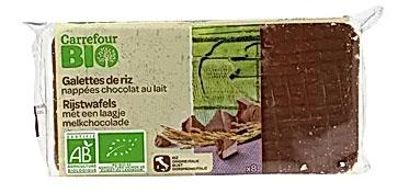 Carrefour Bio Ekologiczne wafle ryżowe w czekoladzie mlecznej